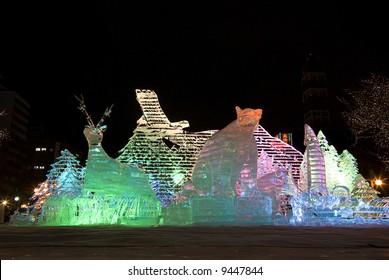 Ice sculptures of animals of Hokkaido. Sapporo Snow Festival 2008 (Japan)