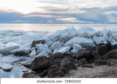 Ice shelf along a coast on a lake