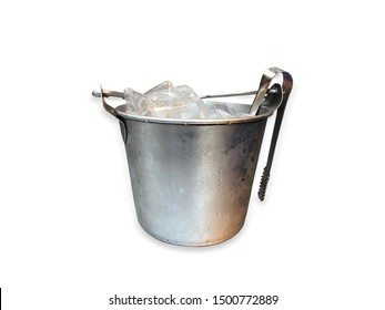 ice in silver bucket on white background.