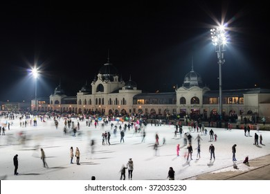 Ice skaters on public rink of Budapest City Park