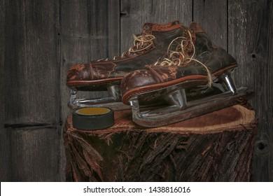 ice skates retro vintage antique