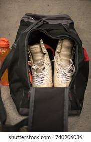 Ice skates in sport bag  in dressing room