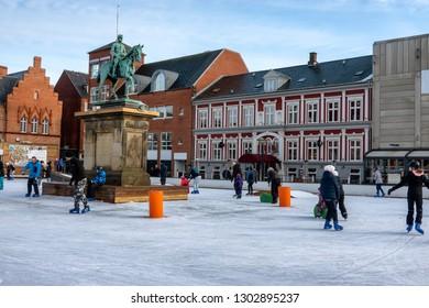 Ice skating in Esbjerg city center when wintertime, Denmark