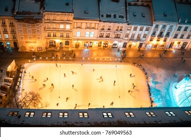 ice skating rink on the square in the center of the old town