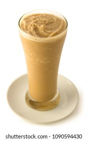 Ice Smoothie Frappe in a glass and saucer on isolated background
