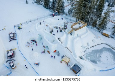 Ice and snow castle, best winter attraction for visitors Zakopane.