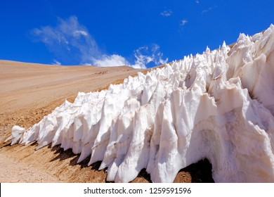 Ice or snow penitentes and andean altiplano mountain landscape at Paso De Agua Negra mountain pass, Chile and Argentina, South America