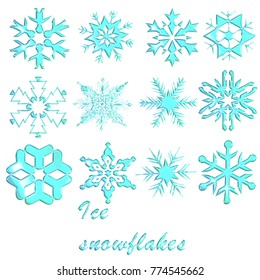 Ice snowflakes with a glass look.