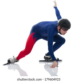 Ice speed skater in low start