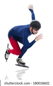 Ice speed skater in motion