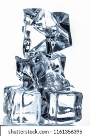 Ice stack isolated on white background close-up