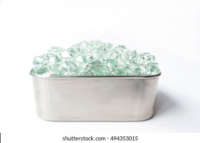 ice in a stainless box on white background