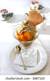 ice summer peach dessert