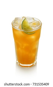 Ice tea passionfruit with lime