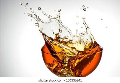 ice tea. splash in glass
