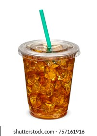 Ice tea in takeaway cup on white background including clipping path