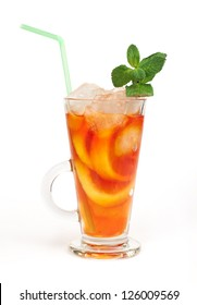 Ice tea white isolated. Glass ice tea with ice cubes and mint.