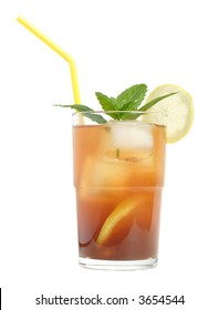ice tea with yellow straw, isolated