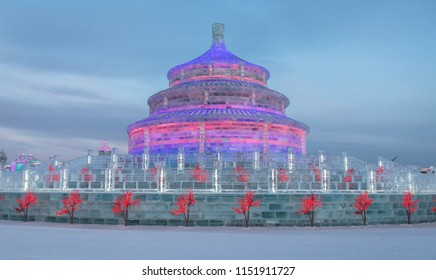 The ice temple of heaven at the Harbin ice festival