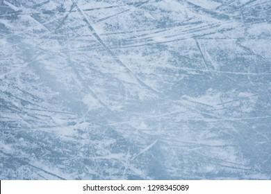 Ice texture. Background. Ice skating tracks. Hockey