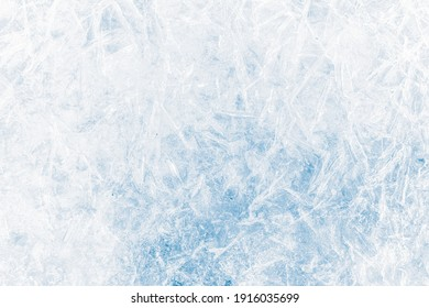 Ice texture crystal, blue tones background. Textured cold frosty surface of ice.