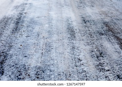 Ice texture on the road