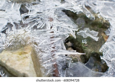 Ice texture. Winter background. Low temperature.