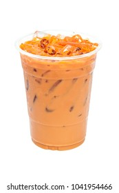 ice thai tea with milk in transparent plastic in white background with path