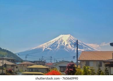 Ice top of fuji mountain japan