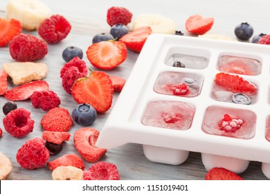 Ice tray with fruit on white background top view. Dehydrated freeze dried fruit.