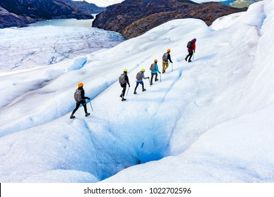 Ice Trekkers on Grey Glacier in Patagonia Chile