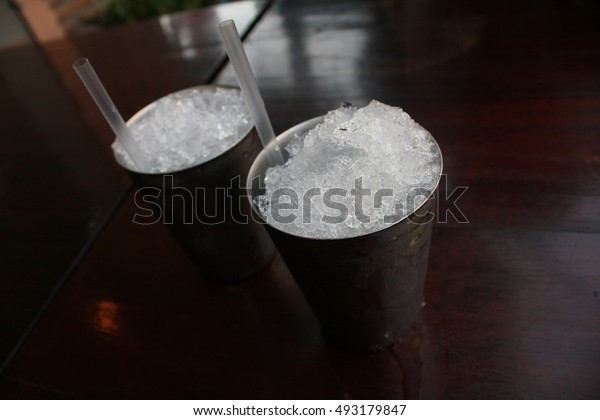 Ice two glasses on the table