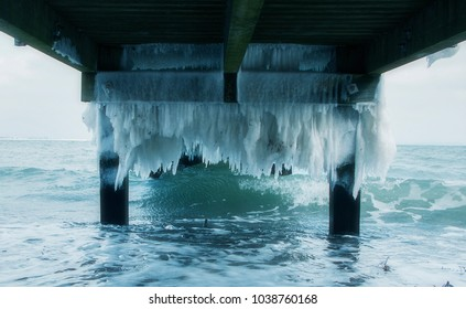Ice under a jetty