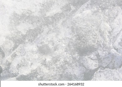 Ice: A variety of textures and drawings on the frozen water