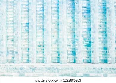 Ice wall. Harbin International Ice and Snow Festival. Located in China Harbin Ice and Snow World, Harbin, Heilongjiang, China.