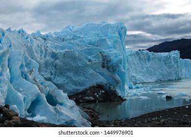Ice wall of the Perito Moreno Glacier in Los Glaciares National Park, Santa Cruz, Patagonia Argentina.
