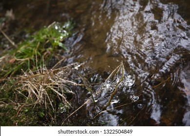 ice water drops, Spring thaw, river Doubrava, Czech republic,