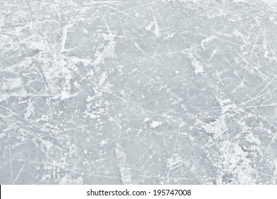Ice white surface in the field in winter