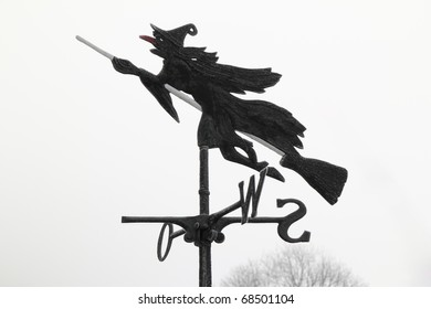 An Ice Witch riding a broom