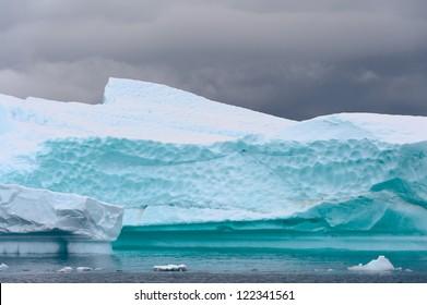 Iceberg close up, aquamarine color