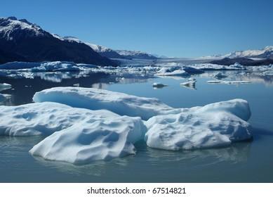 Iceberg floating on lake, Upsala Glacier, Argentino Lake, Patagonia, Argentina