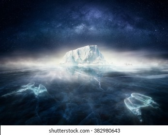 Iceberg in frozen icy landscape with polar bears and night sky