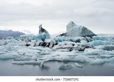 Iceberg in Jokulsarlon glacier lagoon, located in the southeastern part of the island, near the glacier Vatnajokull. Tourist attraction