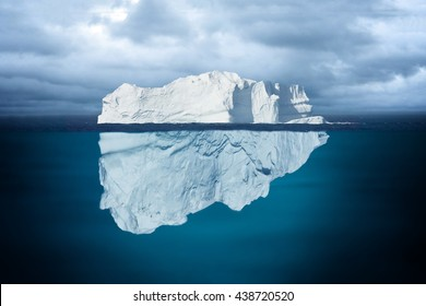 Iceberg Mostly Underwater Floating in Ocean