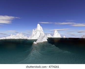 iceberg underwater and above