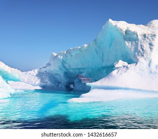 Icebergs in background, landscape Greenland