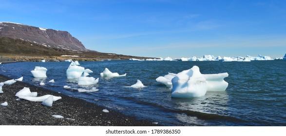Icebergs in the bay of Disko Island, Greenland