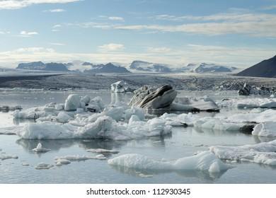 Icebergs calving into Jokulsarlon lagoon, Iceland