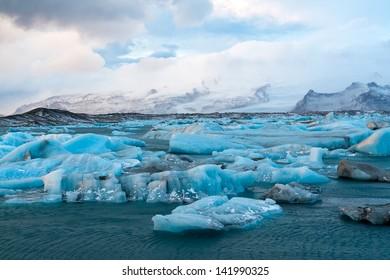 Icebergs drifting to sea in Jokulsarlon - Iceland
