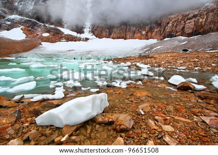 Icebergs float in glaical meltwater from the Angel Glacier in Jasper National Park of Canada